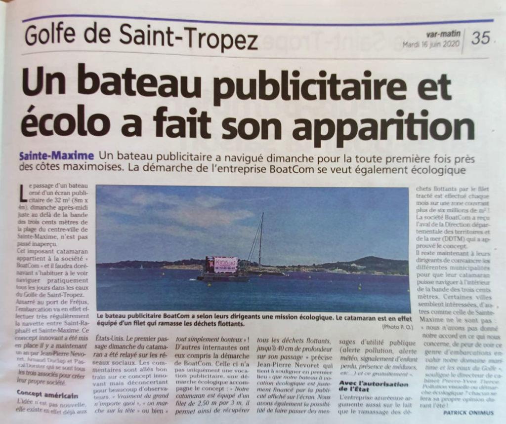 Médiatisation de Boatcom et Virtuoses Médias dans le Var Matin - Golf de Saint-Tropez